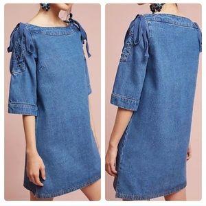 Anthropologie Maeve Open Shoulder Denim Blue Dress